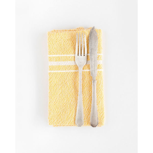 contemporary napkin with variegated stripes - YELLOW