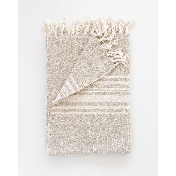 large contemporary towel with variegated stripes - STONE