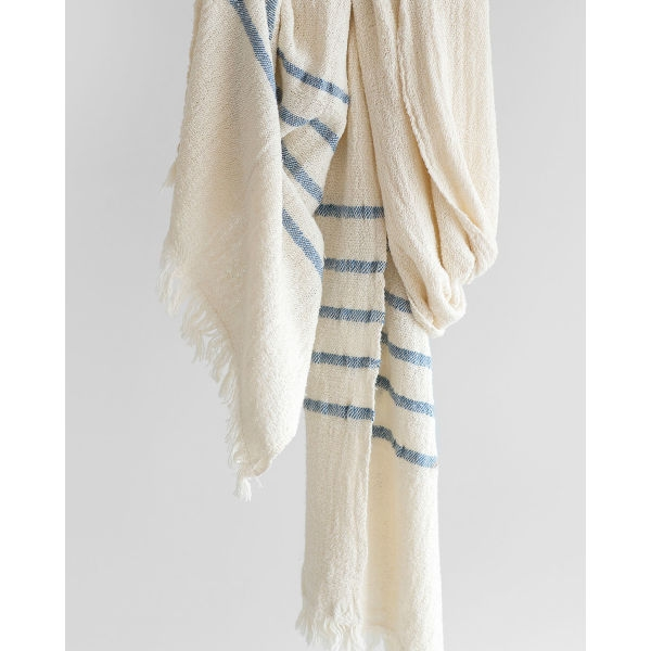 country scarf with stripes on end - DENIM