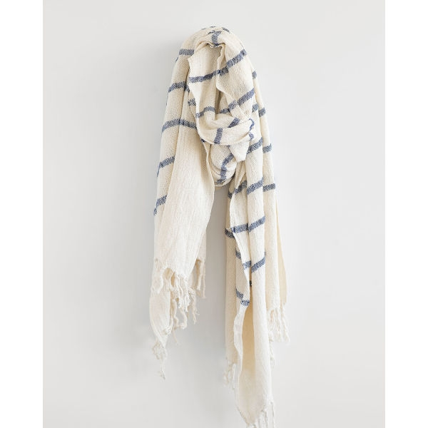 country shawl with stripes throughout - NAVY