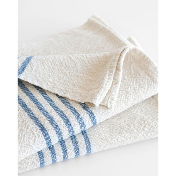 large country towel with stripes on end - DENIM