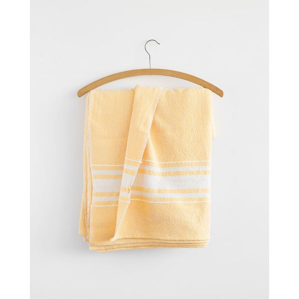 contemporary table cloth with variegated stripes - YELLOW