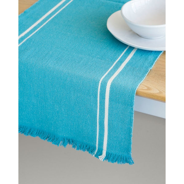 contemporary table runner with stripes - TEAL