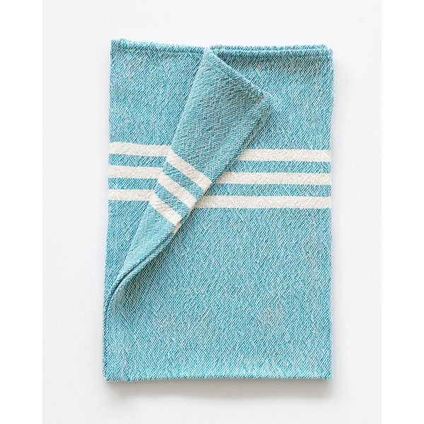 small contemporary towel with stripes on end - TEAL