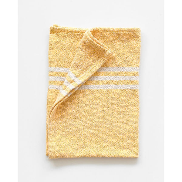 small contemporary towel with stripes on end - YELLOW