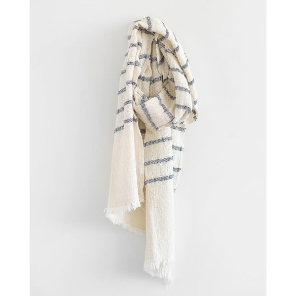 country scarf with stripes throughout - NAVY
