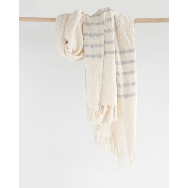 country shawl with stripes on end - GREY