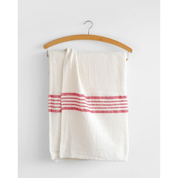 country table cloth with stripes on end - RED