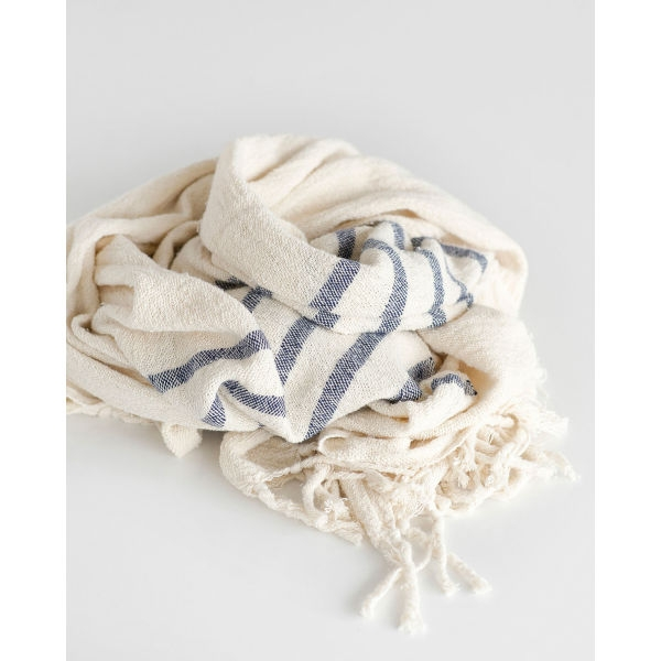 country shawl with stripes on end - NAVY