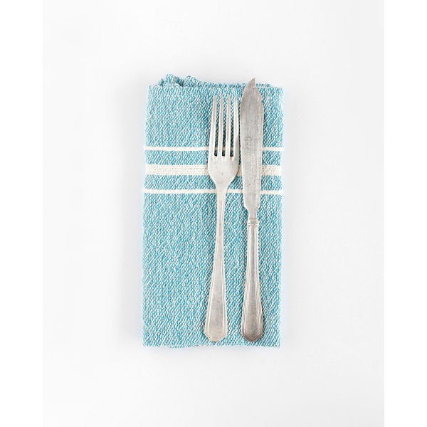 contemporary napkin with variegated stripes - TEAL