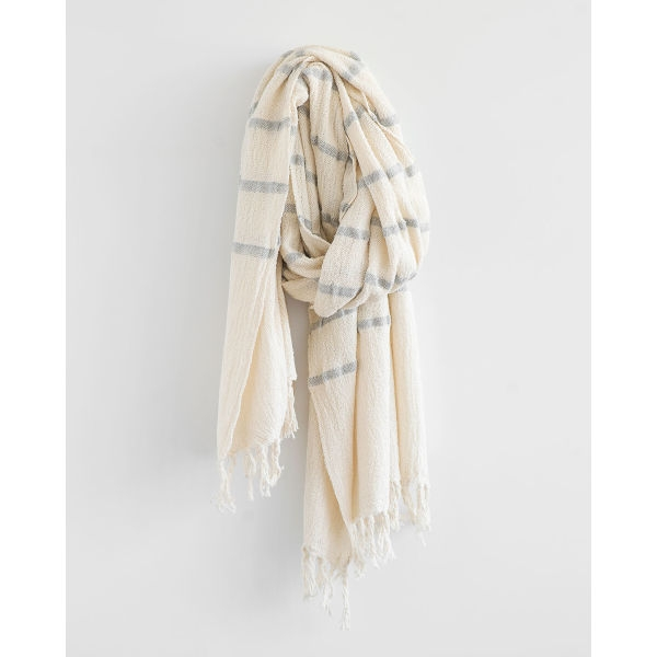 country shawl with stripes throughout - GREY