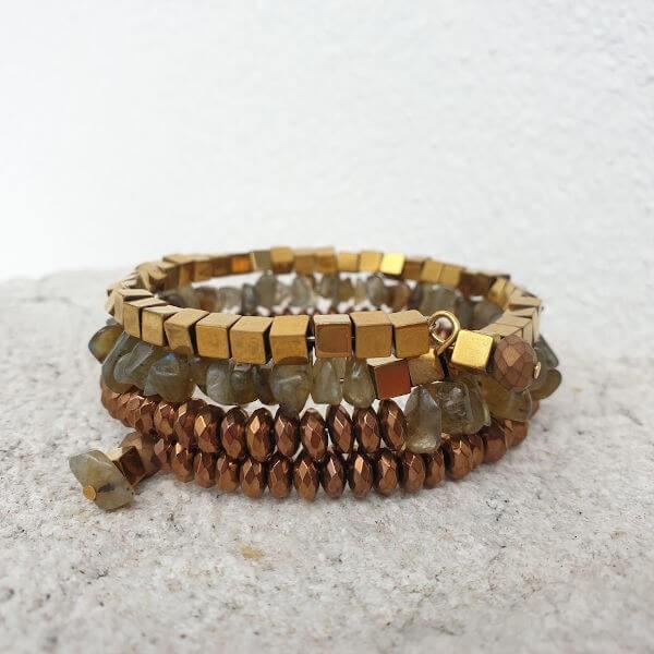 Wickelarmband RANI 3-reihig - LABRADORITE GOLD