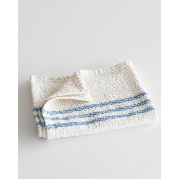 small country towel with stripes on end - DENIM