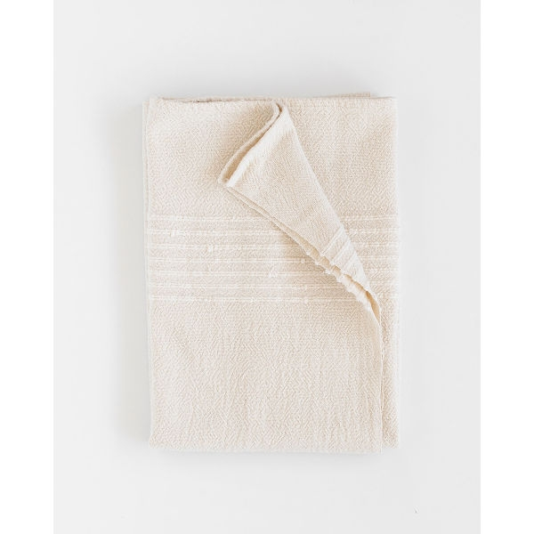 large country towel with stripes on end - NATURAL
