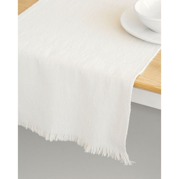 country table runner with stripes - NATURAL