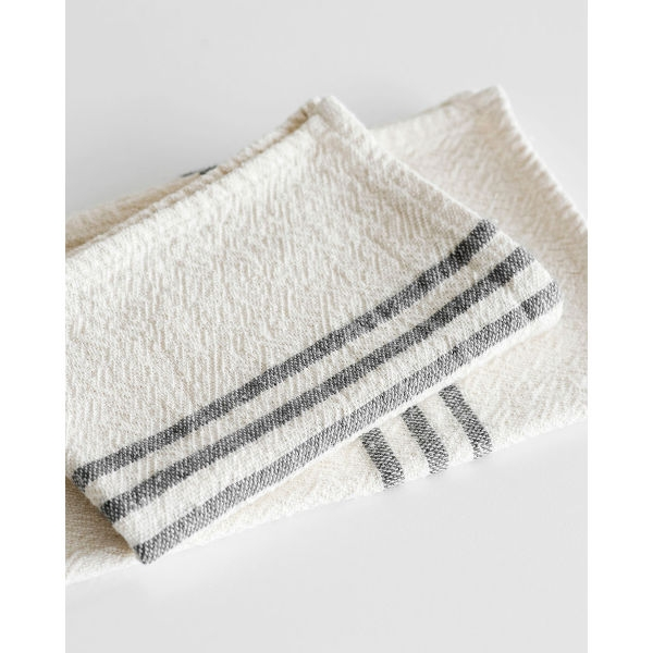 small country towel with stripes on end - CHARCOAL