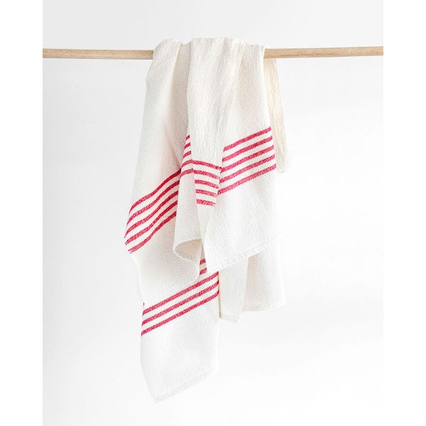 large country towel with stripes on end - RED