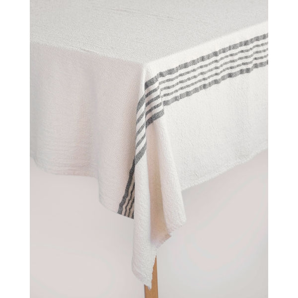 country table cloth with stripes on end - CHARCOAL
