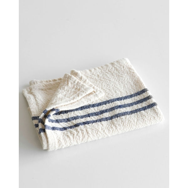 small country towel with stripes on end - NAVY