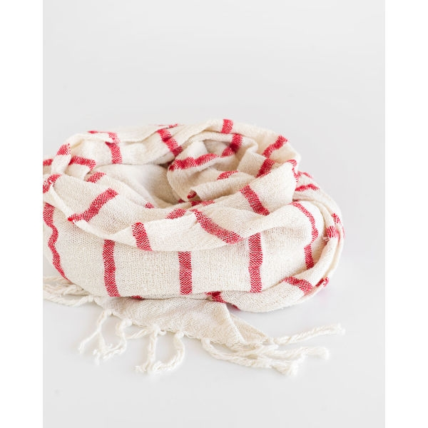 country shawl with stripes throughout - RED