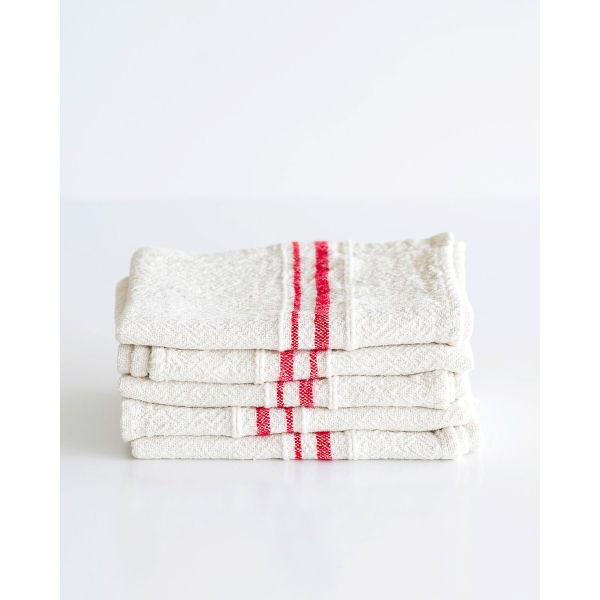 small country towel with variegated stripes - RED