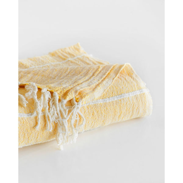 contemporary throw with variegated stripes - YELLOW