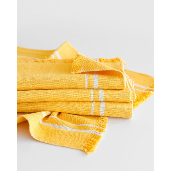 contemporary table runner with stripes - YELLOW