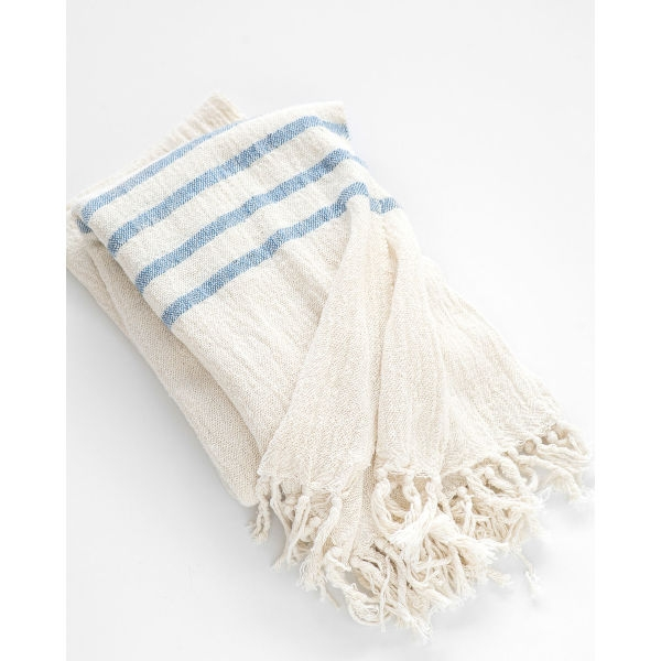 country shawl with stripes on end - DENIM