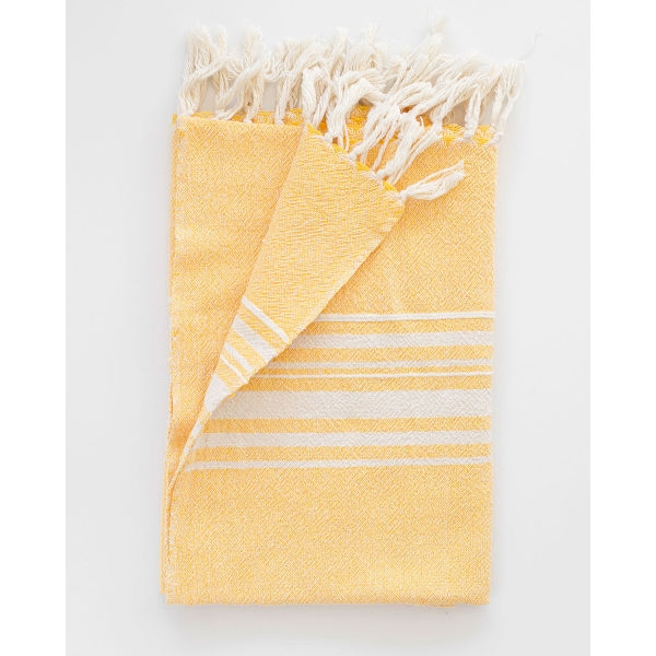 large contemporary towel with variegated stripes - YELLOW