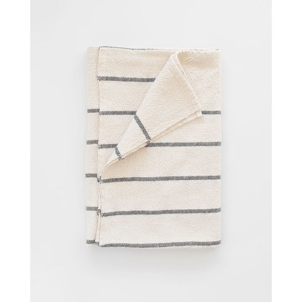 large country towel with stripes throughout - CHARCOAL
